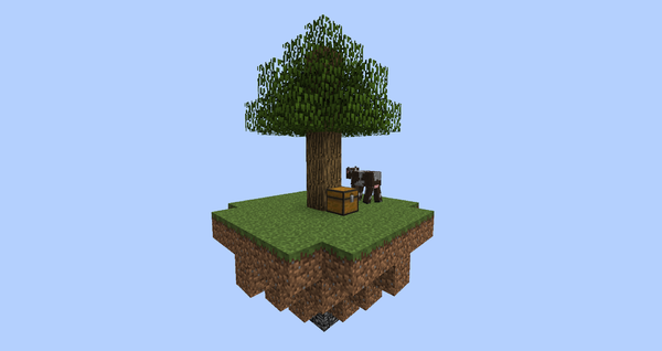 Eine SkyBlock Insel am anfang.